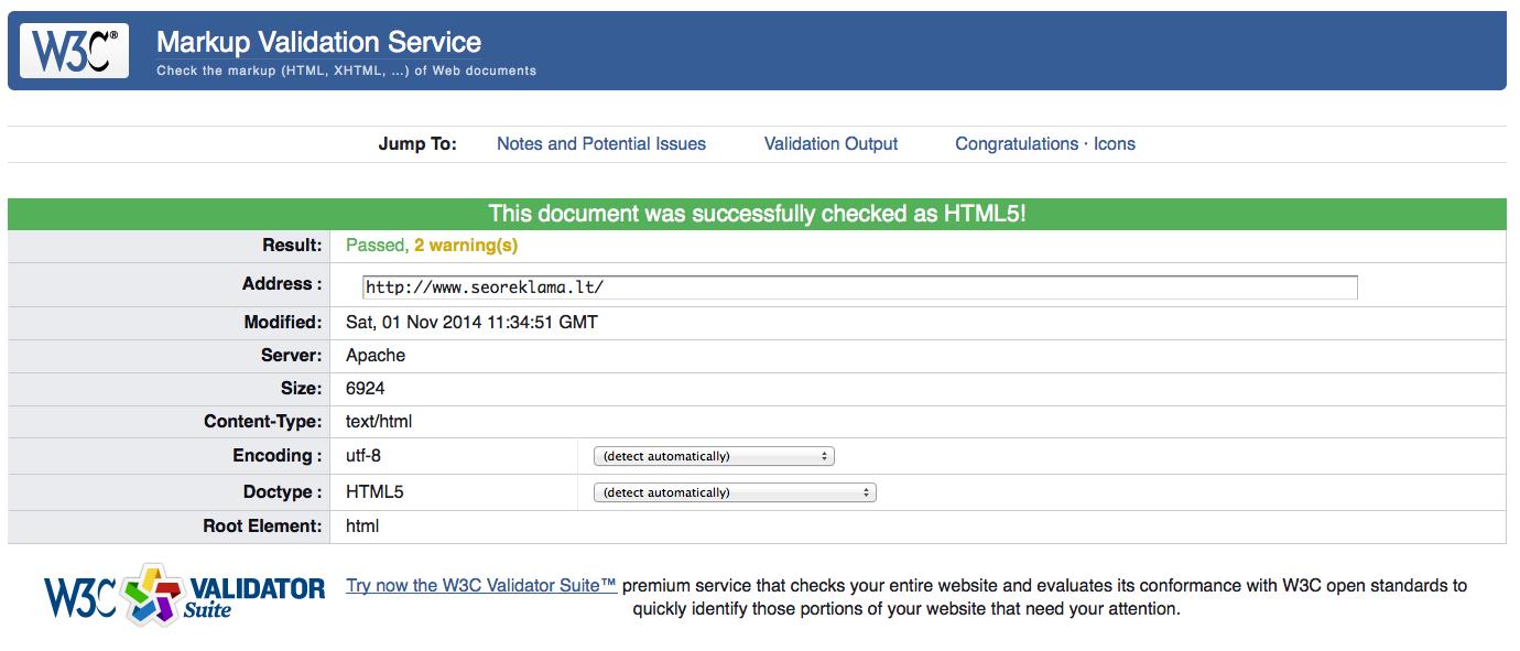 w3c validator kodo ivertinimo rezultatas